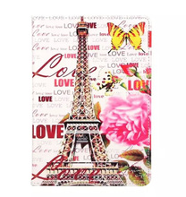 Luxury Eiffel Tower Bus The Statue of Liberty Flower PU Leather Case Cover For Apple Ipad air 2/air1 ( Ipad 5 6 ) For Ipad Mini4