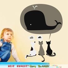 Cartoon Whale Wall Stickers 3 Lovely Cat Have Dream Waterproof Wall Decals, Kids Rooms Decoration Diy Home Kitchen Decor Nursery