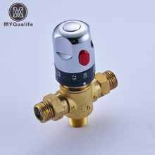 Brass Luxury Thermostatic Mixing Valve Temperature Control Valve for solar water heater valve parts, Thermostatic Mixers(China)