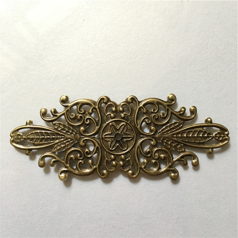 Wholesale Filigree Hollow Long Leaf Embellishments Findings,Jewelry Accessories,Bronze Tone,8.6*3.4cm,500PCs