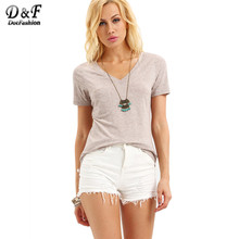 Dotfashion Women Loose Tops 2016 Summer Plain Tees Pink V Neck Short Sleeve Simple Basic Casual Wear T-shirt