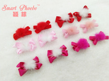 Boutique Fashion Cute Fur Pom Pom Ribbon Bow Hairpins Kawaii Solid Pom Pom Velvet Bowknot Hair Clips Xmas New Year Headware(China)