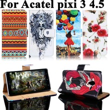 Phone Case For Alcatel OneTouch One Touch Pixi 3 pixi3 4.5 inch Bag Cover 3G 4G 4027 4028 5017D 5019D PU Leather Shell Case Capa