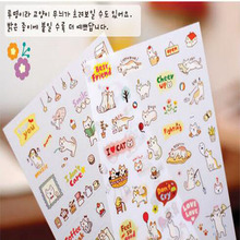 6 Pcs/Set Creative Cute Cat PVC Sticker for DIY Scrapbooking Diary Phone Sticker Products Design Paster Kawaii Stationary  7.95