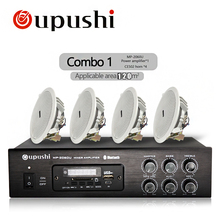 Oupushi Home Music System 100V Bluetooth Amplifier Withe Ceiling speaker, Wall speaker 60W Remote Control Audio Sound(China)