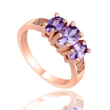 SHUANGR New Luxury Purple Finger Jewelry Gold Color Shiny Purple Cubic Zirconia Crystal Engagement Rings For Women femme