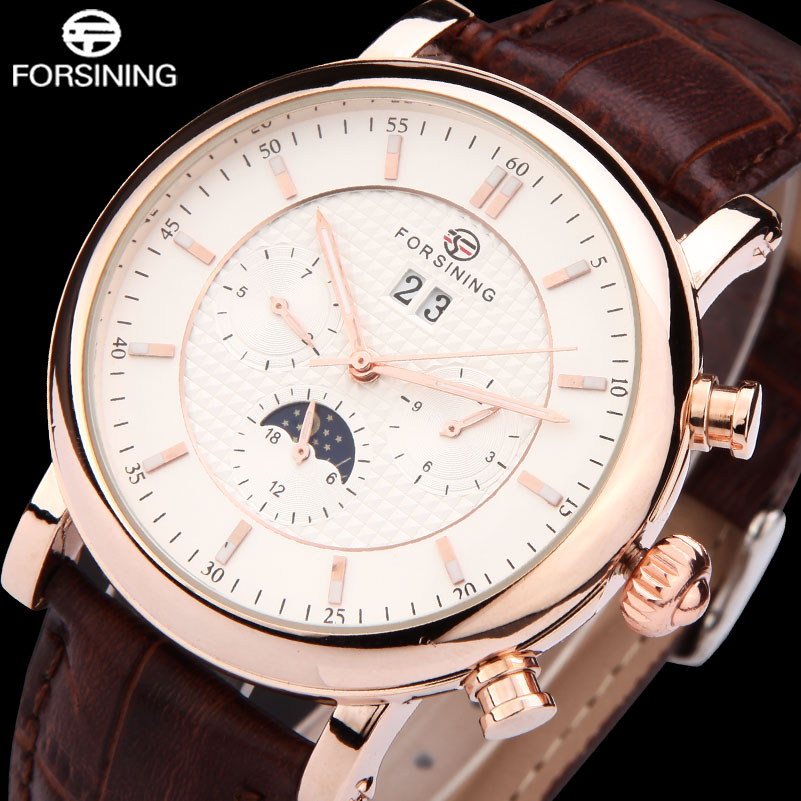 FORSINING Hot Fashion Men Mechanical Watches Male Leather Strap Watches Casual Mens Auto Date Wristwatches Relogio Masculino<br>