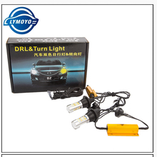 car DRL led T20 7440 led Dual Color 42SMD 5730 White+Amber/ice bule LED Bulbs For Front Turning singnal Light Error Free Canbus(China)
