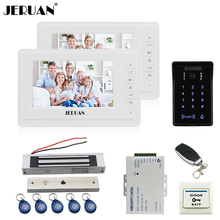 JERUAN 7 inch LCD video doorphone intercom system Kit 2 monitor New RFID waterproof Touch password keypad Camera Magnetic lock