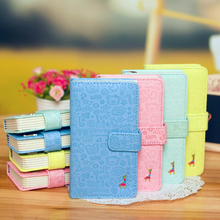 Japan Korean Creative Partysu PU Leather Notebook Women Portable Travel Book Colored Page Inset Soft Copybook Hardcover WZ