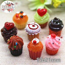 ice cream cup 10PCS dessert 3D Resin Flatback Cabochon Miniature food Art Supply Decoration 15x21mm