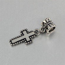 free shipping 1pc christmas gift European antique silver cross bead pendant charms Fits Pandora Charm Bracelets PCA062