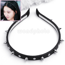 New Punk Cool Style Headband Bow Spike Rivet Studded Women Hair Band Black Color(China)