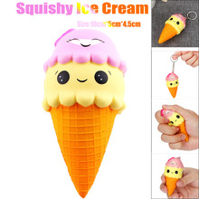 Kawaii Jumbo 10CM Cartoon Smiley Face Ice Cream Squishy Slow Rising scented Charms Bread Food Anti stress Squeeze Toys for Kids(China)