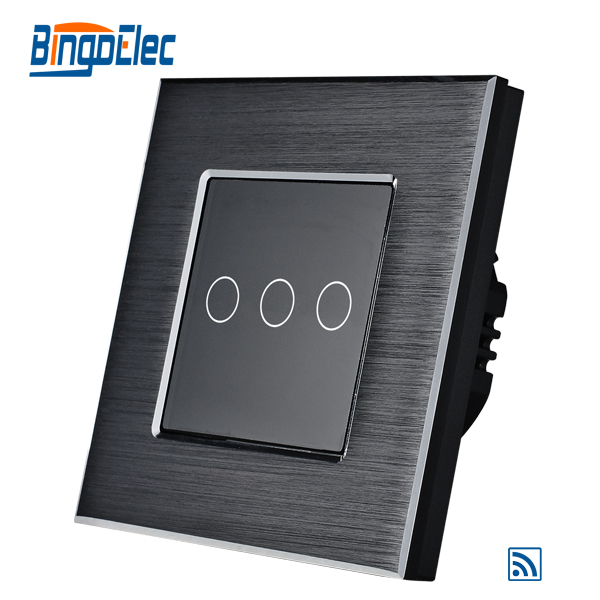 3gang 1way touch switch with remote function ,black aluminum and glass panel switch, EU/UK type,AC110-240V,free shipping<br><br>Aliexpress