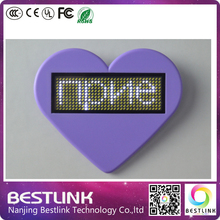 white color 36*12 pixels usb rechargeable Lithium battery led badge supermarket price tag Led name card business card