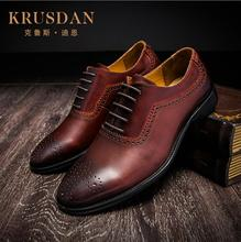2017 New Arrival Brand Top Quality Men Business Casual Genuine Leather Shoes Men Bullock Classic Brown Dress Wedding Shoes(China)