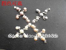 4pcs freshwater pearl cross  pendant necklace nature beads white pink purple black FPPJ