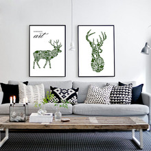 Interesting Modern Nordic Green Reindeer Abstract Compostion Of Home Leaf Tree Art Canvas Print Wall Poster For Sofa Home Decor