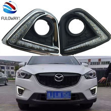 for Mazda cx-5 cx5 2012 2015 DRL car  led daytime running light turn signal and dimmer style relay 12V fog lamp free shipping