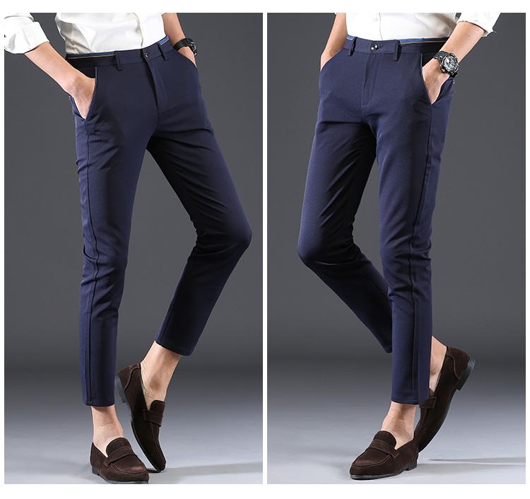 2018 Pring Summer Brand Clothing Men Casual Pants Business Slim Fit Elastic Ankle-length Pants Men's Skinny Pants Men Trousers 8