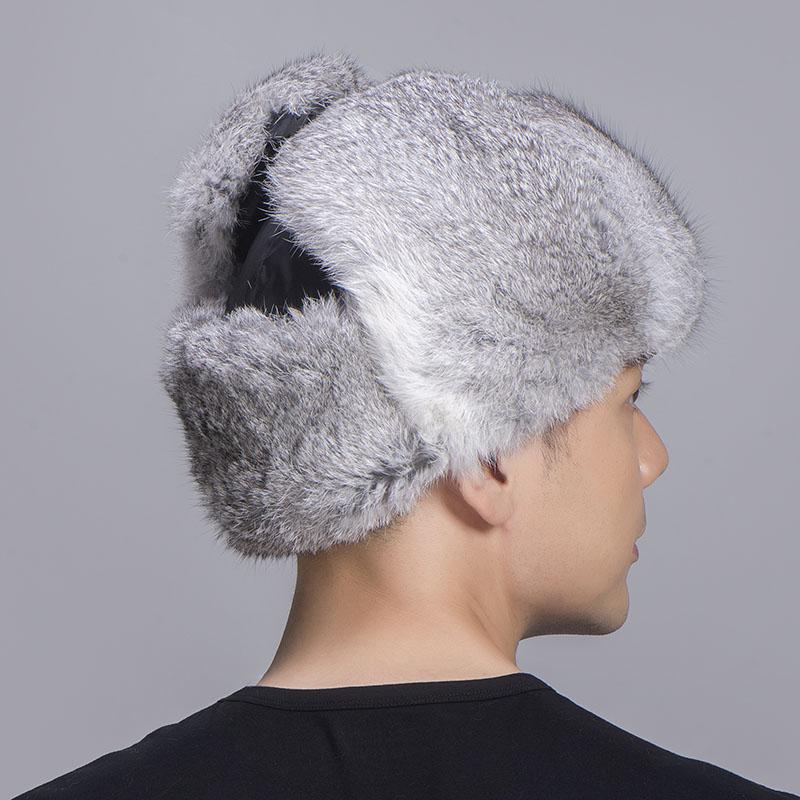 rabbit fur trapper hat grey black 4