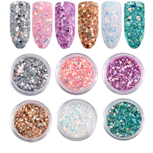 6Pcs Laser Mixed Nail Art Sequins Glitters Set Charm 3d Nail Powder Paillette Flakes DIY Nail Decorations