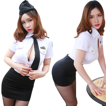 Buy Sexy Lingerie Policewoman Stewardess Cosplay Uniform Club Dress Women Night Underwear Set 2017 Hot Babydoll Costumes