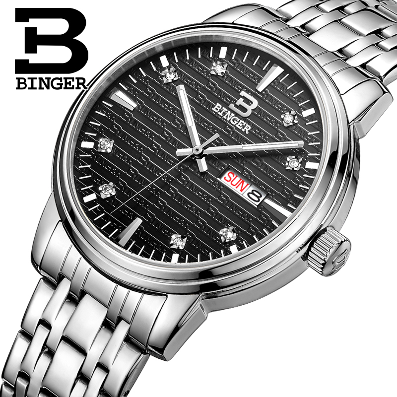 Genuine Luxury BINGER Brand Men quartz Leather strap Full steel Gold watches Crossroad Waterproof free shipping<br>