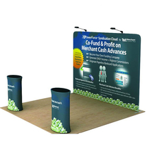 10ft straight tension fabric trade show display pop up banner stand with custom graphic printing travel case