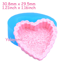 Q180YL 30.8mm Heart Cupcake Tart / Bottom Silicone Mold - Cake Base Mold Fondant, Decorative, Chocolate, Gum Paste, Resin Mold