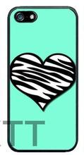 Teal Blu con Zebra Cuore Sveglio Tpu Nero cell phone bags case cover for 4S 5C 5S SE 6S 7 Plus IPOD Samsung IPOD Touch  HTC SONY