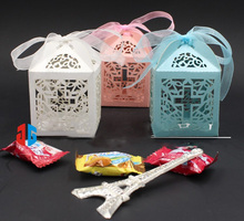 10Pcs 5*5*8Cm Ice White Hollow Cross Laser Cut Wedding Party Favor Candy Gift Boxes