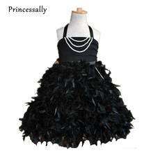 Black Feather Flower Girl Dress Puffy Halter Pearl Flowergirl Dress Tutu Skirt Kids Evening Gowns Vestidos Baby Party Frocks