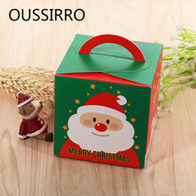 1PCS Cartoon Diy Portable Christmas Apple Cookies Candy Gifts Holders Box Paper Packaging Box Kids Party Favor Supplies(China)