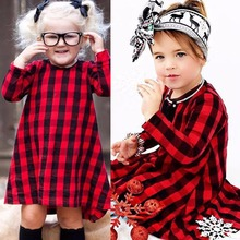 Casual Baby Girls Red Plaid Dress Kids Checked Party Princess Formal Dresses Toddler Autumn Red Clothes 0-5T 2017