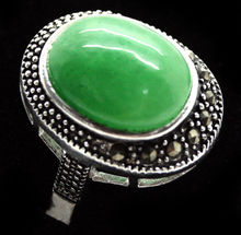 fashion ring 17*21mm VINTAGE GREEN JADE 925  SILVER RING SIZE 7/8/9/10 valentise christmas gift
