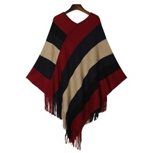Women Striped Tassel Wool Sweaters 2017 Spring Autumn Pull Warm Poncho Casual Long Knitted Cape Pullovers Cloak Jumper Femme