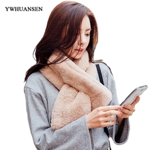 YWHUANSEN Faux Fur Stoles Imitation Rex Rabbit Fur Rings Super Thick Shawl Neck Scarf Woman Winter Warm Fluffy Fake Fur Collar(China)