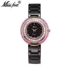 Miss Fox Super Cool Newly Famous Brand Watch Women Logo Xfcs Women Crystal Watches Fire And Water Resistant Ceramic Quartz Watch(China)