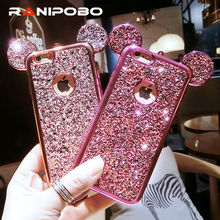 Luxury Rhinestone Glitter Bling 3D mouse ear Phone Case for iPhone 7 7 Plus 5 5S SE 6 6S Plus Soft Silicone plating Back Cover(China)