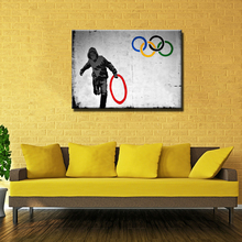 Graffiti Art 5 circles canvas wall art living room wall decor painting,grey pictures print canvas abstract Unframed