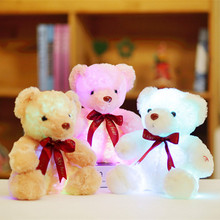 Sitting Height 25cm Colorful Glowing Teddy Bear with Bow Luminous Plush Toys Kawaii Stuffed Doll with Led Light Cute Bear Gift