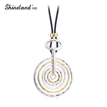 Buy Shineland Fashion Long Round Circle Pendant Necklace Women Black Pu Leather Punk Statement Collares Largos Clothing Accessories for $5.38 in AliExpress store