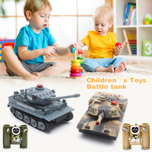 HUANQI H508 - 10 RC Tank Simulation Two Infrared Radio Remote Control Twin Battle Tank Set For Children Boy Gift(China)