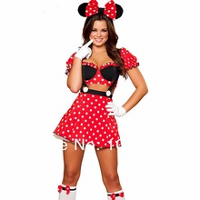 Rojo adultos minnie mouse fiesta de disfraces cosplay disfraces de halloween para las mujeres sexy fancy dress al por mayor s-xxl