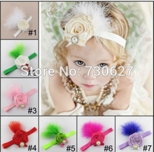 2017 new headbands children Flowers feather pearl headband girls' hairbands Christmas hair accessories