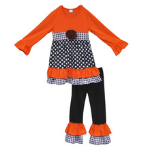 China Manufacture Charming Girls Fall Boutique Outfit 100% Cotton Polk Dots Tunic Top Double Reffler Pants Baby Clothing F042