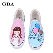 Personalized Hand-Painted Shoes Rabbit Girl Wrapping Foot Pedal Platform Women Canvas Shoes breathable White Floral Candy(China)