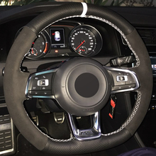 Xuji Car Steering Wheel Cover Black Suede Genuine Leather for Volkswagen Golf 7 GTI Golf R MK7 VW Polo GTI Scirocco 2015 2016